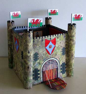 Castle made from a packing case
