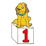 Guy the Dog on Number Cube
